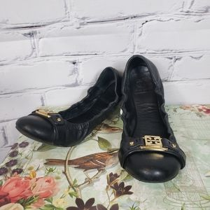 Tory Burch Ambrose Black Leather Flats